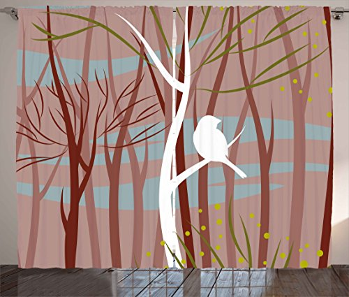 Ambesonne Forest Curtains, Modern Artistic Illustration of Bird on Leafless Branch Winter Trees Wildlife Print, Living Room Bedroom Window Drapes 2 Panel Set, 108 W X 84 L inches, Multicolor ()