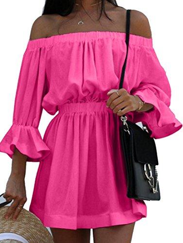 Fulok Women's Flare Sleeve Off Shoulder Elastic Waist Beach Dress Rose Red X-Large