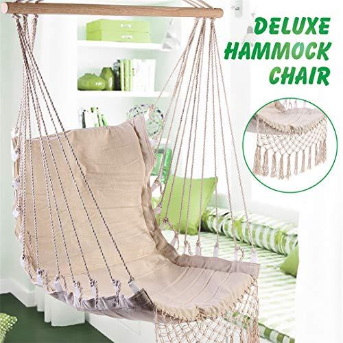 (Yoilsntsg Nordic Style Deluxe Hammock Outdoor Indoor Garden Dormitory Bedroom Hanging Chair for Child Adult Swinging Single Safety Chair)