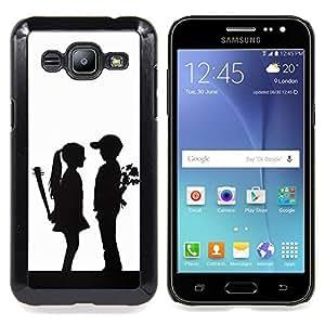 "Qstar Arte & diseño plástico duro Fundas Cover Cubre Hard Case Cover para Samsung Galaxy J2 / J200 (Parejas divertidos Sorpresa"")"