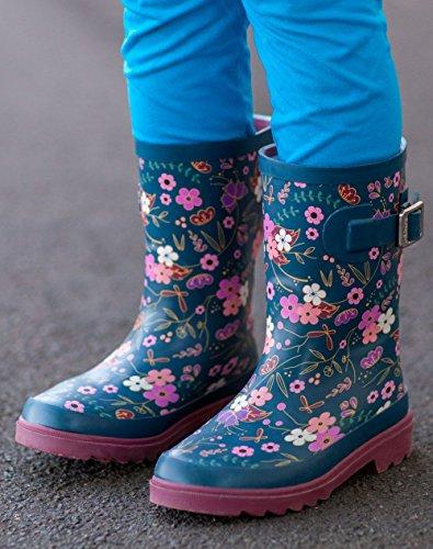 Oakiwear Kids Rubber Rain Boots, Midnight Floral, 4Y US Big Kid by Oakiwear (Image #5)