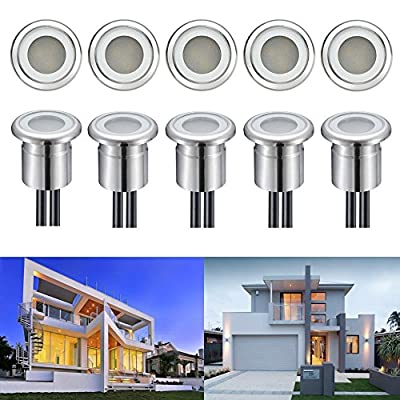 FVTLED LED Deck Light Low Voltage Stainless Steel Waterproof Outdoor Garden Decor Lamps Wood Recessed Underground Pathway Stairway Step Landscape Lighting
