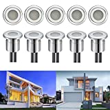 FVTLED 10 Pack LED Deck Light 0.8W Low Voltage Stainless Steel Waterproof Outdoor Garden Decor Lamps Wood Recessed Underground Pathway Stairway Step Landscape Lighting, Warm White