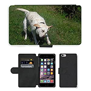 "PU LEATHER case coque housse smartphone Flip bag Cover protection // M00134669 Labrador Mojado Shake Saar río // Apple iPhone 6 4.7"""