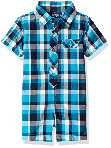 The Children's Place Baby Plaid Romper, Plaid/White, 6-9 Months