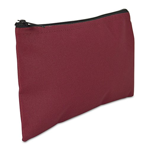 DALIX Bank Bags Money Pouch Security Deposit Utility Zipper Coin Bag in Maroon