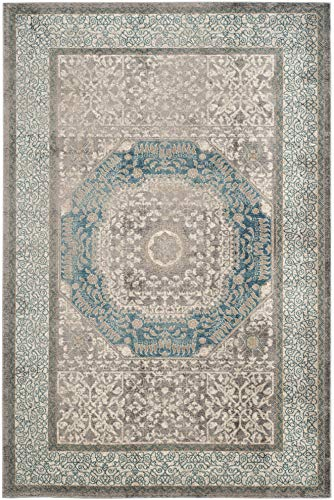 - Safavieh Sofia Collection SOF365A Vintage Light Grey and Blue Center Medallion Distressed Area Rug (5'1