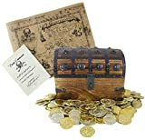 "Large Wooden Pirate Treasure Chest 8"" x 6"" x 6"" 144 Plastic Gold Coins Antique Style Treasure Map and Pirate Commission from Blackbeard by Well Pack Box"