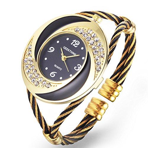 Womens Quartz Bracelet Watch Helix Design Case Analog Stainless Steel Ladies Dress Watches Unique Elegant Thin Metal Band Girl Jewely Wristwatch (Black)