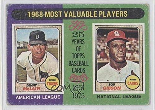 Denny McLain; Bob Gibson COMC REVIEWED Good to VG-EX Denny McLain (Baseball Card) 1975 Topps #206