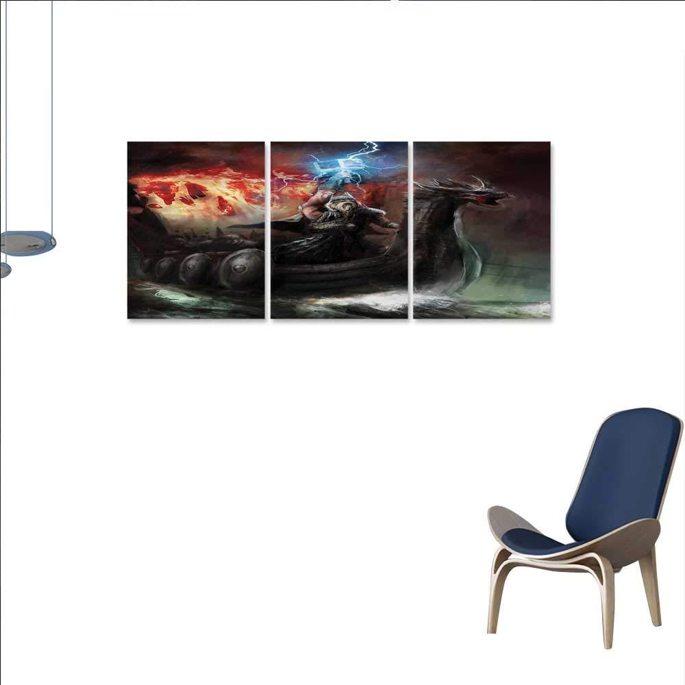"Anniutwo Nature Canvas Wall Art Bedroom Home Decorations Imaginary Wrath Religious Figure Vikings Royal Boat Dragon Head Storm Rays Artwork Wall Decor 24""x36""x3pcs Multicolor"