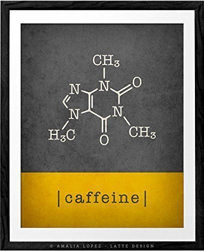 Amazoncom Caffeine Molecule Grey And Yellow Coffee Print By Latte