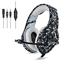 PS4 Wired Chat Headset, ONIKUMA K1-B Camouflage Stereo Gaming Headphones with Mic Clip In-line Volume Control for PlayStation 4 Xbox One Nintendo Switch PC Mac Computer Games Tablet Mobiles (Grey)