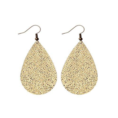 Fashion Womens or Girls Teardrop Leather Earrings, Ten Colors Bronze Hook Earring For Mothers Day, Girlfriend,Wife ,Friend Best Gift (Gold)