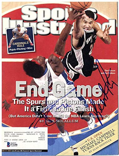 Tim Duncan Ben Wallace Signed Autographed 2005 Finals Sports Illustrated BAS