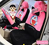 1 Sets lovely cartoon comfotable Universal Car five Seat covers Car Steering Wheel Cover women car seat cushion (peach black)