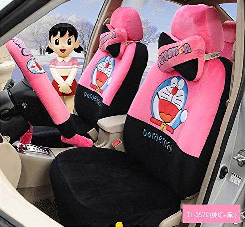1 Sets lovely cartoon comfotable Universal Car five Seat covers Car Steering Wheel Cover women car seat cushion (peach black) by PPSEXweiwei26
