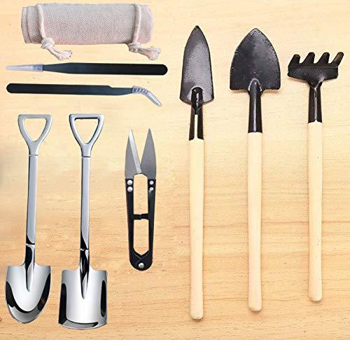 Mini herramientas de jardinería p/suculentas set x8u.+bolsa