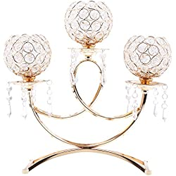 Fenteer Home Wedding Party Decoration Crystal Metal 3 Arms Candle Holder Candelabra for Dinning Room Table Centerpieces Silver/Gold Candle Lamp - Gold, as described