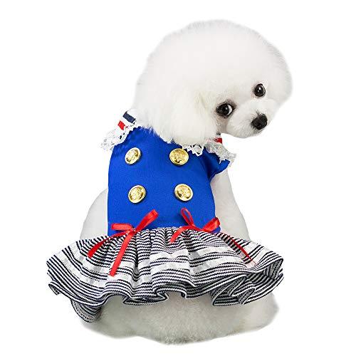 MUYAOPET Sailor Dog Costume for Kitten Pet Cat Tutu Dress Dog Party Dress Skirt Small Dog Shirt Clothes (XS, Blue)