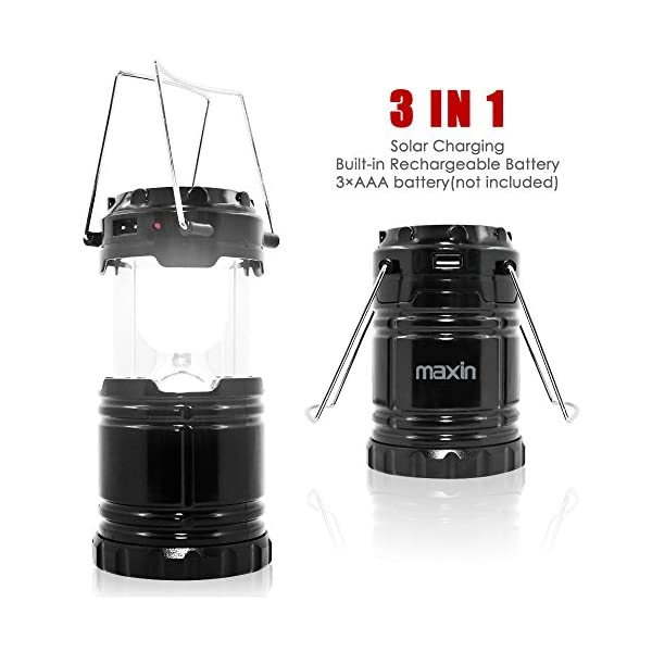 51NUL8I idL. SS600  - Ultra Bright Camping Lantern with Rechargeable Batteries, Water Resistant - maxin Portable LED Solar Collapsible Camping Lantern Flashlights Torch for Outdoor
