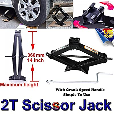 2T Scissor Jack For Car Van Travel Emergence Mechanical Lifting Lift Tool Portable With Crank Speed Handle