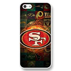 UniqueBox Customized NFL Series Case for iPhone 5C, NFL Team San Francisco 49ers Logo iPhone 5c Case, Only Fit for Apple iPhone 5C (White Hard Shell)