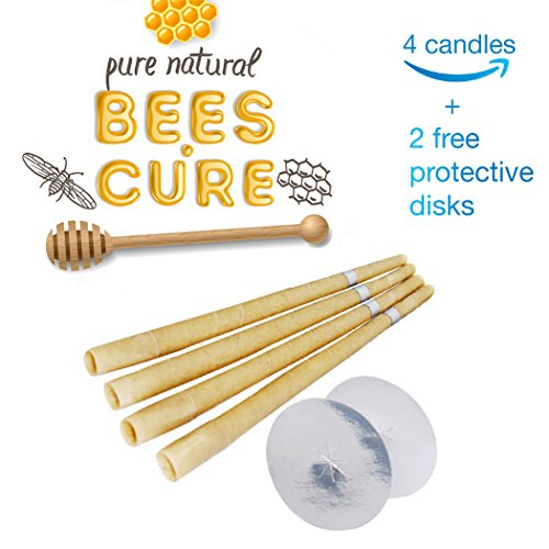 Beeswax Candling Cones 4 Pack - 100% Natural Beeswax Candle- 2 Protective Disk Included
