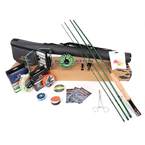 M MAXIMUMCATCH Maxcatch Premier Fly Fishing Rod and Reel Combo Complete 9' Fishing Outfit (Premier Rod+Green AVID Reel, 8 wt -9' Full-Handle Rod,7/8 Reel) (Best Budget Fly Rod Combo)