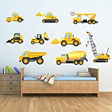 Truck & Digger Wall Sticker Set Construction Wall Decal Boys Room Nursery Decor available in 8 Sizes Large Digital
