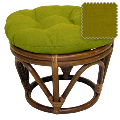 18-Inch Bali Rattan Papasan Footstool with Cushion - Solid Outdoor Fabric, Avocado - DCG Stores Exclusive