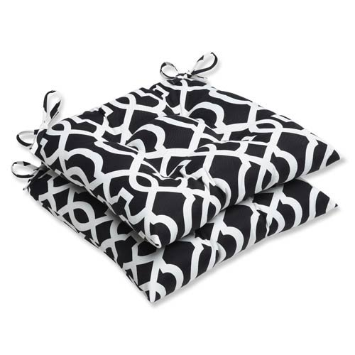 Pillow Perfect Outdoor New Geo Wrought Iron Seat Cushion, Black/White, Set of 2 (Chair White Cushions Patio)