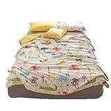 Quilt Comforter 100% Cotton Made Patchwork Cartoon Printed Children Duvet Comforter Spring & Summer Blanket Twin Comforter Sizes 59''x79'' Crazy Animal Design for Kids Teens (Twin, Crazy Animals, White)