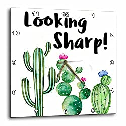 3dRose Anne Marie Baugh - Quotes - Funny Ironic Looking Sharp Watercolor Cactus Quote - 15x15 Wall Clock (dpp_263624_3)