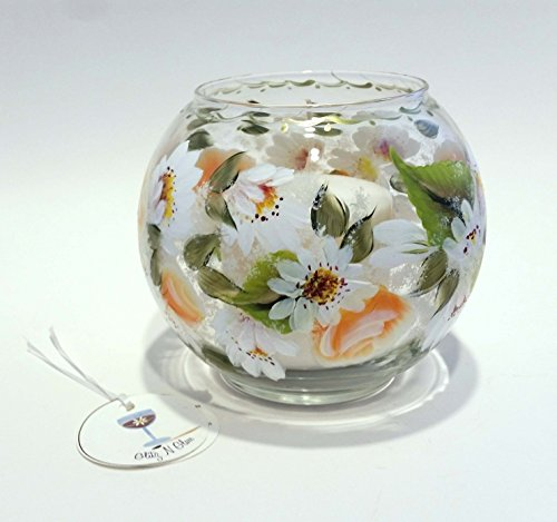 Hand Painted Glass Fish Bowl With Tropicana Roses and Shasta ()