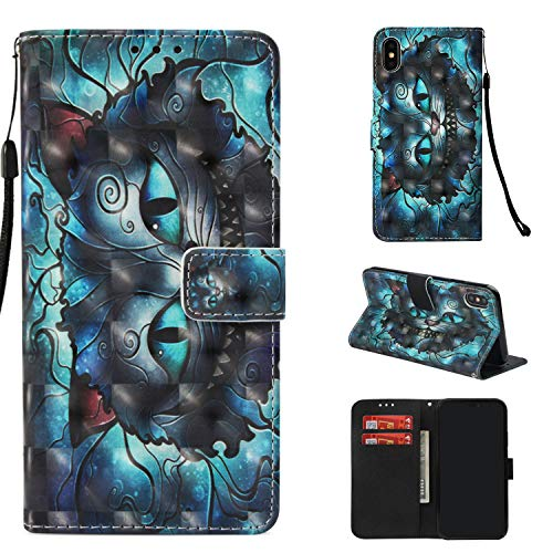 iPhone Xs Max - Case (6.5″ Display), MerKuyom [Special 3D][Wrist Strap] [Kickstand] Premium PU Leather Wallet Pouch Flip Cover Case W/Stylus for Apple iPhone Xs Max (Blue Devil Cat)