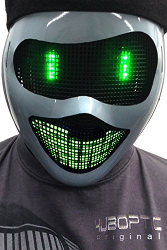 Original Huboptic Green Eyes FX - Gray Mask - DJ Mask - Light Up Mask LED Neon mask Smiley Smile Bot Rave Mask Robot Mask Costume -