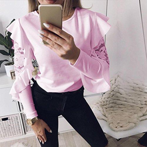 da Moda Casual Lunga T Tinta Donne Hot Sale Tops Donna Rosa Blouse Unita O Shirt Estate Collo Camicetta Maglietta Manica Abbigliamento Cerniera Oyedens Shirt ZEn4xwZ7