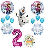 Mayflower Products Frozen 2nd Birthday Party Supplies Olaf, Elsa and Anna Balloon Bouquet Decorations Pink #2