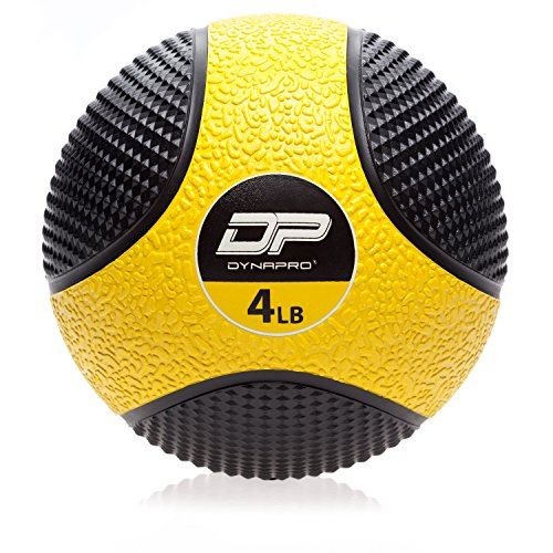 DYNAPRO Medicine Ball | Exercise Ball, Durable Rubber, Consistent Weight Distribution, Comfort Textured Grip for Strength Training (Yellow- 4LB)