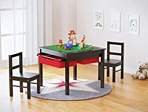 UTEX 2-in-1 Kids Multi Activity Table and 2 Chairs Set with Storage, Espresso