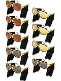 Frienda 9 Pairs Elvis Rockstar Costume Glasses with Wigs, Elvis Sideburn Sunglasses for Fun Gold 70s Disco Costume Accessories (Color 1)