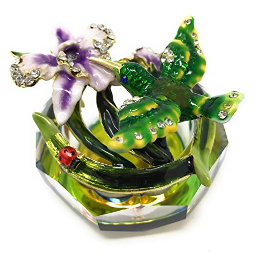 Kubla Craft Enameled Hummingbird & Flowers with Cut Glass Trinket Box by, Accented with Austrian Crystals, 2.875