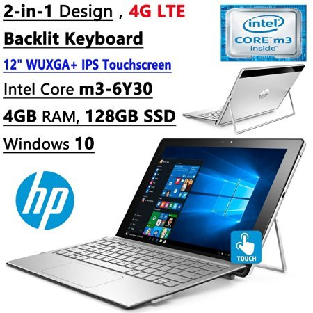 HP Spectre X2 12-Inch Convertible Flagship WUXGA FHD Touchscreen Laptop (Intel Core m3-6Y30 Dual-Core, 4GB RAM, 128GB SSD, Bluetooth, Windows 10) - Silver (Hp Tablet Lte)