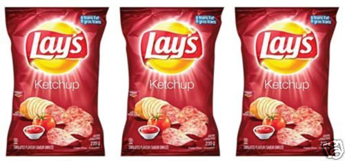Lays Ketchup Potato Chips Eh! 3 Bags & Canada Flag!!