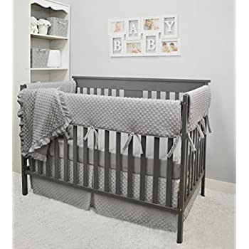 Image of American Baby Company Heavenly Soft 6 Piece Crib Rail Bedding Set, Grey, for Boys and Girls Home and Kitchen