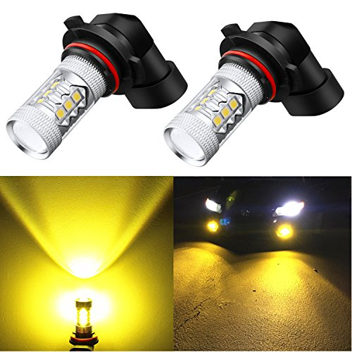 Alla Lighting H10 9145 Bulb Super Bright 9045 9040 9140 H10 9145 LED Bulb High Power 3030 SMD LED 9140 H10 9145 Yellow PY20D 9145 3000K LED Fog Light Bulbs Lamps Replacement w/Projector (Set of 2)
