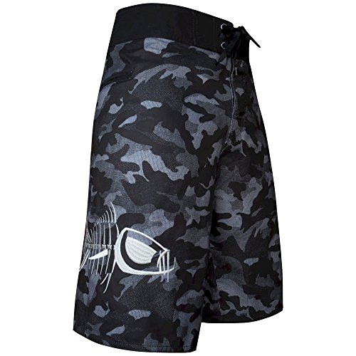 Tormenter Waterman 5 Pocket Boardshorts, Gray Camo 38 (Fishing Swim Trunks)