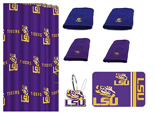 NCAA LSU Tigers 18 Piece Bath Ensemble Includes (1) Shower Curtain, (12) Shower Hooks, (2) Bath Towels, (2) Hand Towels, and (1) Bath mat (Lsu Tigers Home Accessories)