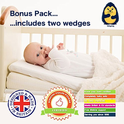 BONUS PACK of Two Wedges - The Wedgehog® Crib/Carrycot/Pram Wedge for Reflux and Congestion (38cm Reflux Pillow) - includes Free Bundled Reflux eBook